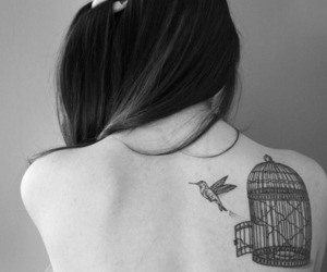 tattoo, bird, and cage image