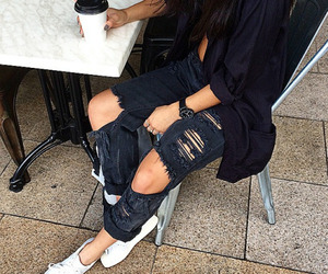black, coffee, and fashion image