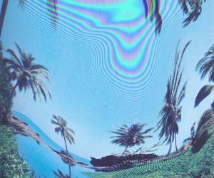 grunge, beach, and palm trees image