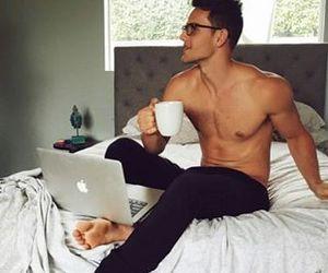 back, boy, and coffee image