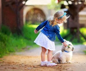 dog, girl, and child image