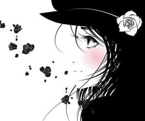 anime girl, anime monochrome, and monochrome image