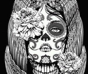 black & white, calaca, and catrina image