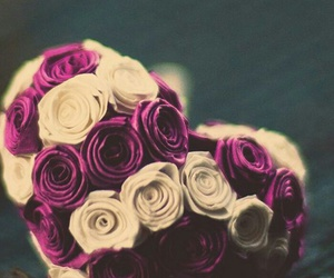 bouquet, heart, and pink image