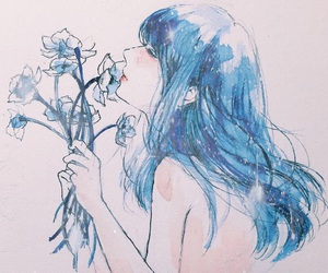 art, blue, and flowers image