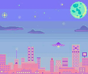 pixel, city, and pastel image
