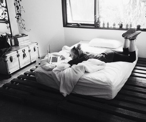 girl, black and white, and bed image