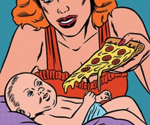 pizza, baby, and mom image