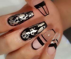 black nails, fancy, and style image