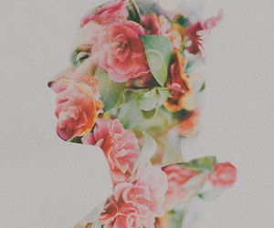 double exposure, flowers, and pink image