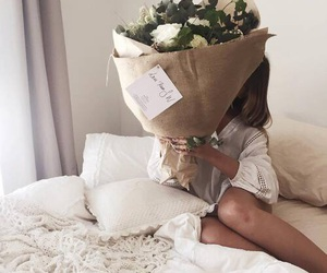 flowers, white, and bed image