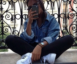girl, adidas, and iphone image