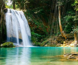 waterfall, paradise, and nature image