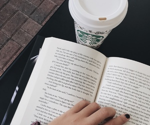 book, coffee, and starbucks image