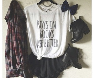 outfit, style, and books image