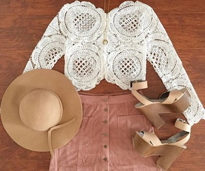 hat, lace, and outfit image