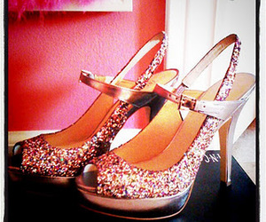 heels, shoes, and glitter shoes image