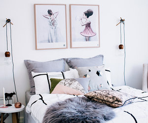 bed, bedroom, and fur image