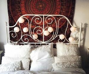 bed, lights, and decor image