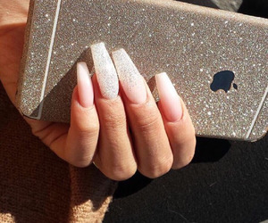 nails, apple, and glitter image
