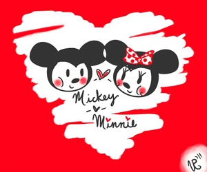 mickey mouse, minnie mouse, and love image