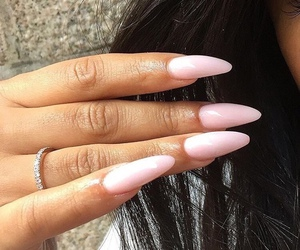 nails, pink, and brunette image