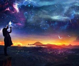stars, sky, and fantasy image
