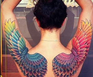 tattoo, rainbow, and wings image