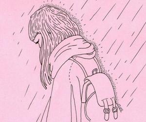 pink, rain, and sad image