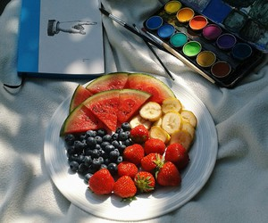 blueberries, book, and colourful image