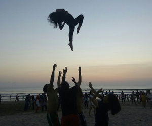 cheerleader, cheerleading, and basket toss image