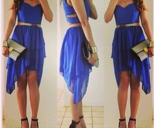 blue, woman, and dress image