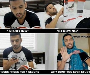mom, studying, and funny image