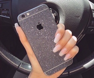 nails, iphone, and glitter image