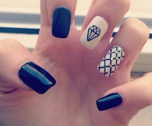 nails, black, and diamond image