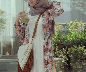 fashion, hijab, and bag image
