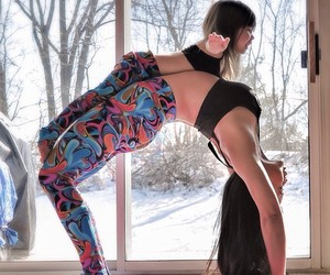 daughter, yoga, and mom image