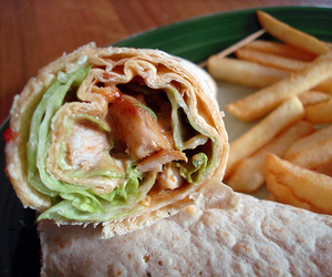 food, wrap, and fries image