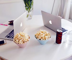 popcorn, apple, and food image
