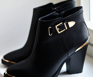 shoes and boots black and gold image