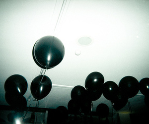 balloons, black, and grunge image