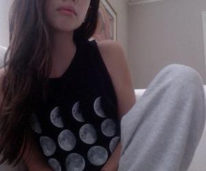 girl, moon, and grunge image