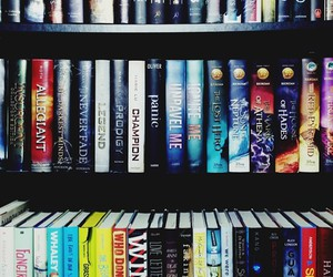 black, blue, and bookcase image