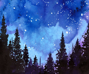 forest, night, and watercolor image