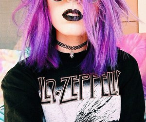 band, purple hair, and color image