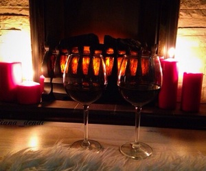 fireplace, night, and red wine image