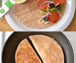 food, pizza, and pizzadilla image