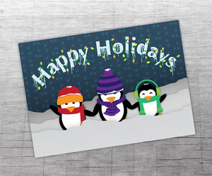 snowy christmas, happy holidays card, and winter card image
