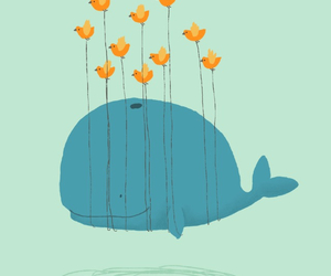 bird, wallpaper, and whale image
