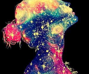 girl, galaxy, and stars image